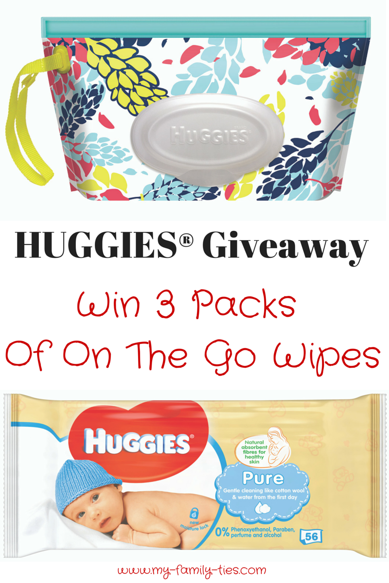 Giveaway with My Family Ties Blog and Huggies to win On The Go Wipes
