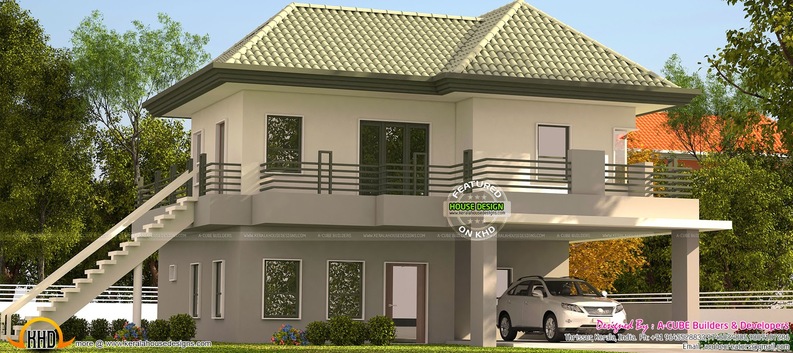 Kerala model green roof home kerala home design and for Kerala home roof designs