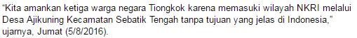 Karena Memasuki Wilayah Indonesia Secara Ilegal Lewat Jalan Tikus (Sungai Kecil) Tiga Warga Negara Asing Asal China Berhasil Diamankan Prajurit TNI Satuan Tugas Pengamanan Perbatasan Batalion Infantri 614/Raja Pandhita - Commando