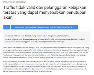 Bentuk pelanggaran yang mengakibatkan akun google adsense dibanned