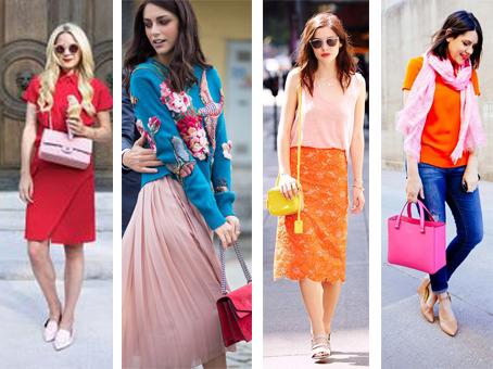 Looks fortes construídos com a cor rosa quartzo. Mistura com azul, vermelho, laranja em 3 looks diferentes.