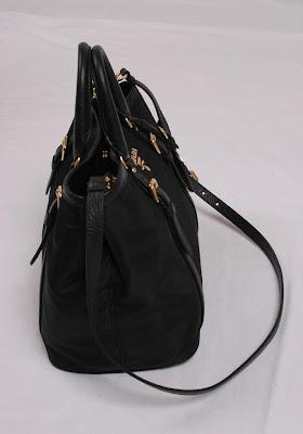 d18cc7aa06d1 Prada Tessuto Vitello Daino Leather Nylon Satchel Crossbody Bag ...