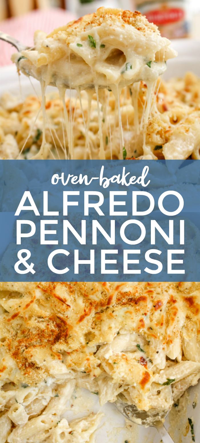 This Oven-Baked Alfredo Pennoni and Cheese made with ricotta cheese and fresh basil leaves is lightened up with a creamy cauliflower Alfredo Sauce! #alfredosauce #macaroniandcheese #pasta #ad