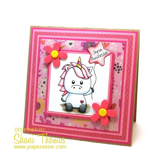 Unicorn digital stamp birthday card, by Paperesse.