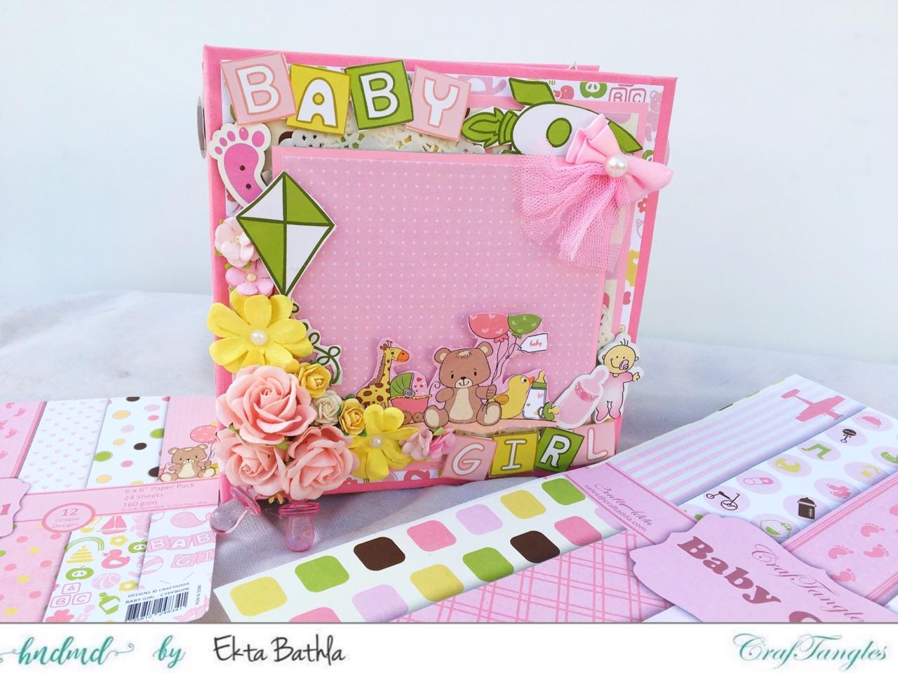 Baby Girl mini album showcasing Baby Girl Elements Pack by CrafTangles 14