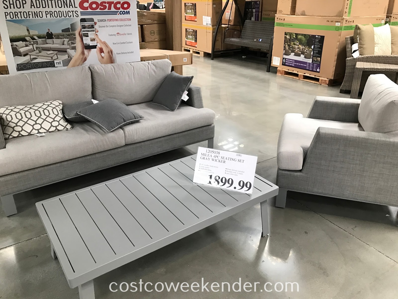 Enjoy lounging and being outside with the Milea 4pc Gray Wicker Seating Set