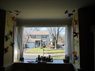 Paper Butterflies Hung Up Around the Window