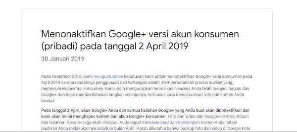 Google Plus Versi Konsumen Dihapus