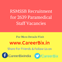 RSMSSB Recruitment for 2639 Paramedical Staff Vacancies