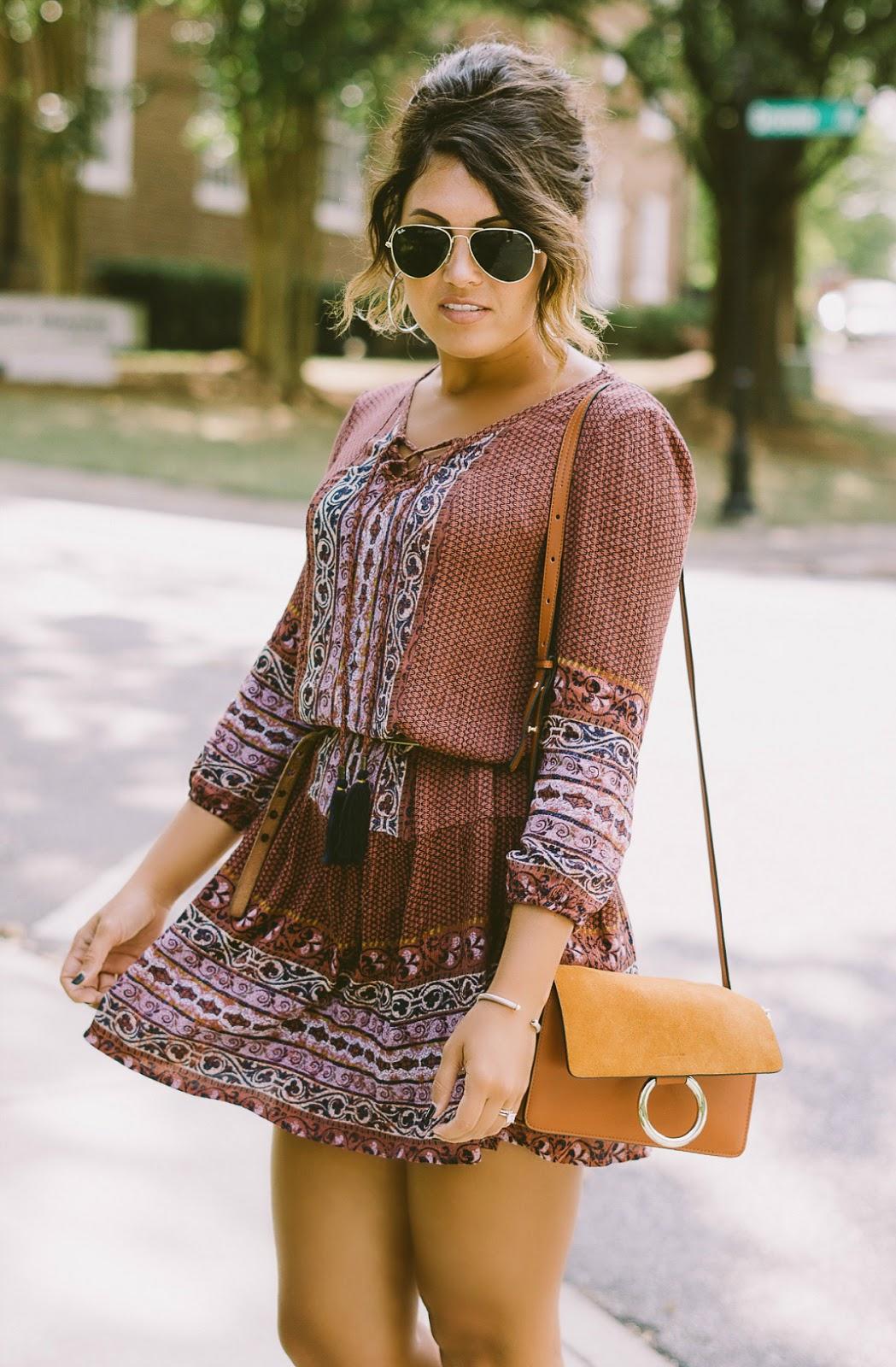 knox rose boho dress, chloe handbag, chloe handbag dupe, silver hoop earrings