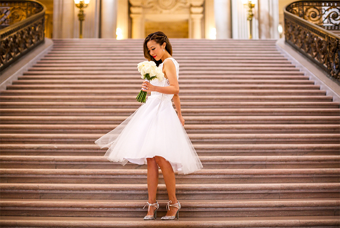 shall We sasa san francisco city hall wedding, san francisco city hall wedding, san francisco city hall, mod cloth i now pronounce you posh lace dress, modcloth wedding dress, betsey johnson shoes,  betsey johnson Viva la Diva Heel in Silver, san francisco fashion blog, san francisco street style