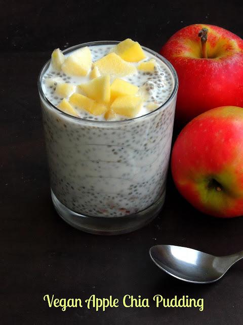 Vegan chia pudding with Apple chunks