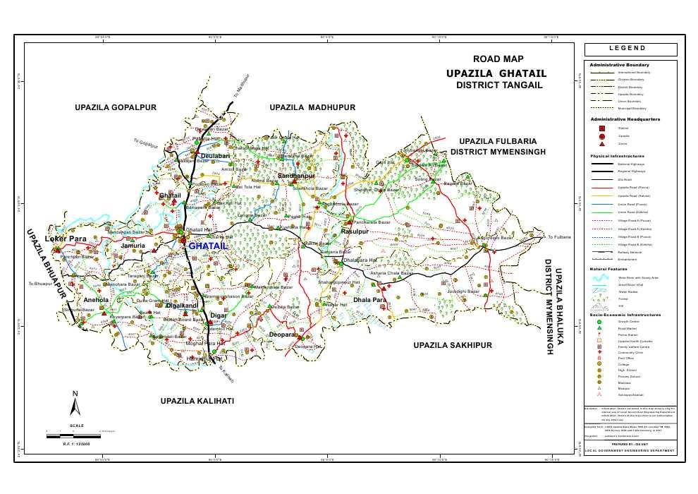 Ghatail Upazila Road Map Tangail District Bangladesh