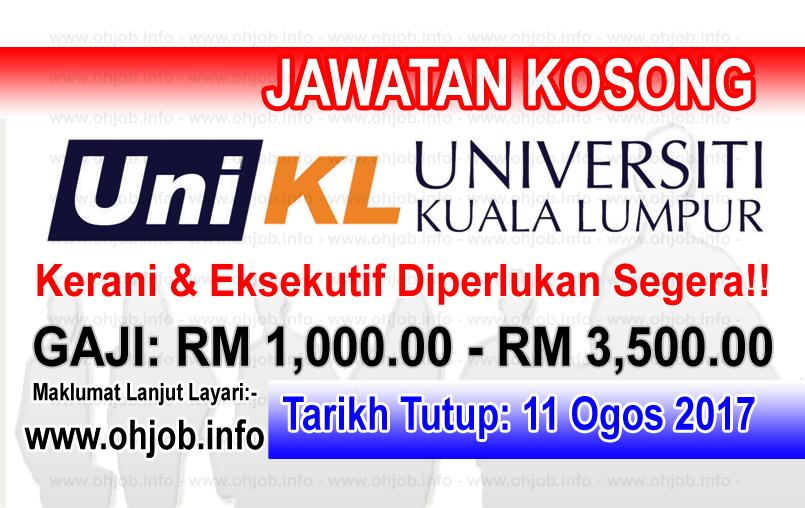 Jawatan Kerja Kosong Universiti Kuala Lumpur - UniKL logo www.ohjob.info ogos 2017