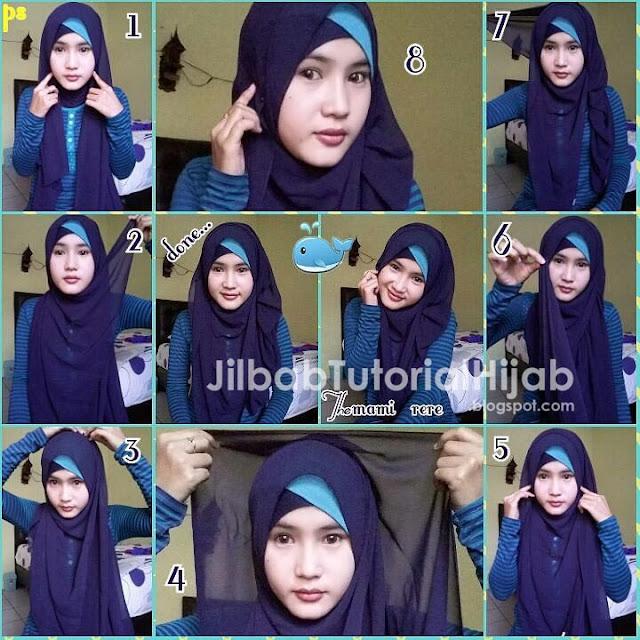 tutorial hijab bukan segi empat tapi pashmina untuk wajah bulat