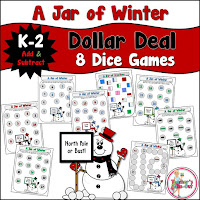 A Jar of Winter Math Games using Addition and Subtraction