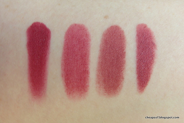 Swatches of Nars Audacious Lipstick in Audrey, e.l.f. Essential Lipstick in Posh, Maybelline Creamy Matte Lipstick in Touch of Spice, Revlon Matte Balm in Sultry.