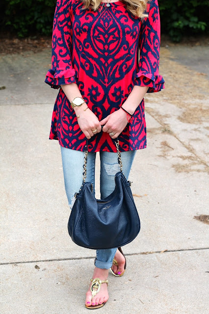red blue tunic, distressed jeans, fedora, kate spade blue bag