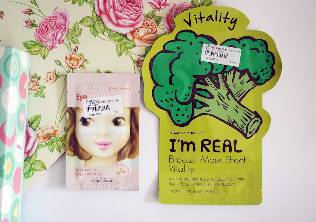 YesStyle, Korean Beauty Box, tony moly, tonymoly, sheet mask, broccoli, etude house, vital, eye patch, eye mask, collagen