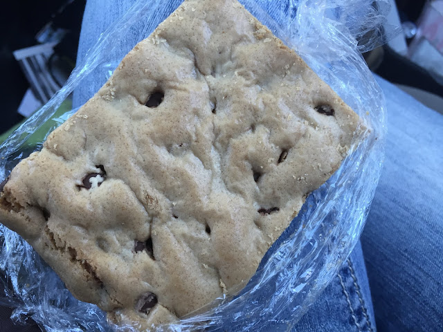 Our fresh baked Chocolate Chip Bar from Nonie's Bakery and Cafe was HUGE and delicious.