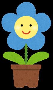 鉢植の花のキャラクター(青)