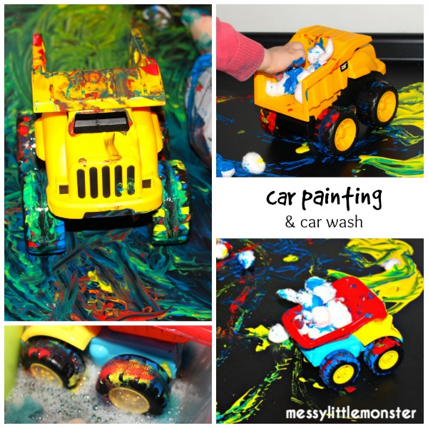 Painting with toy cars process art activity