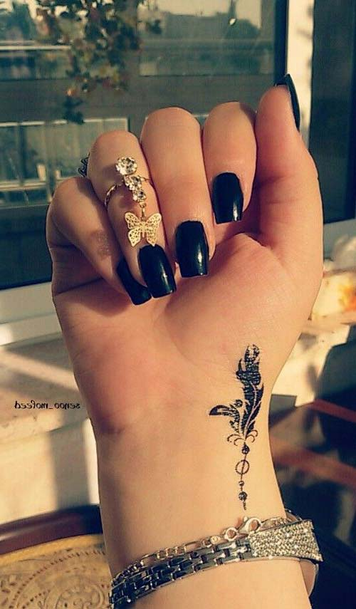 wrist small feather tattoo bilek küçük tüy dövmesi