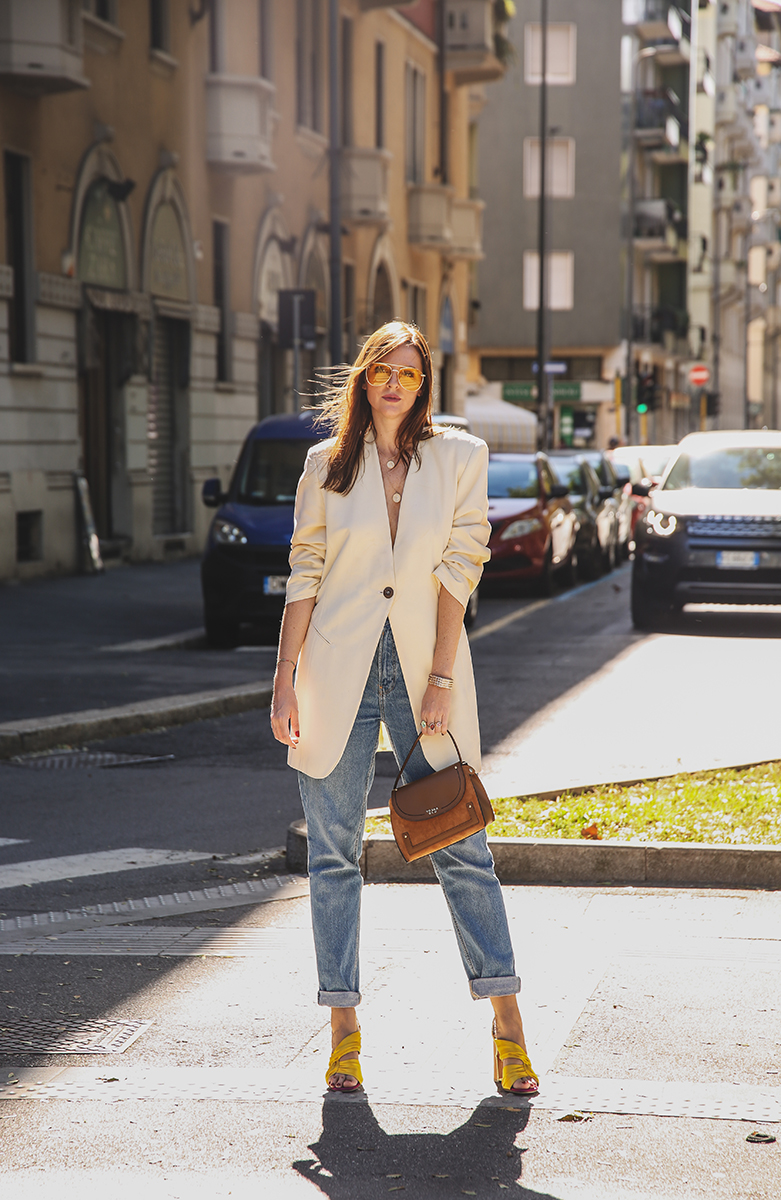 outfit giacca oversize milan fashion week