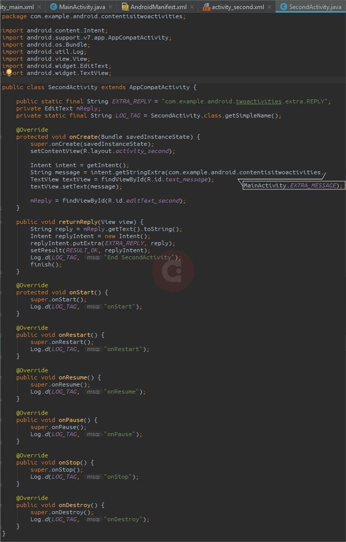 Full Script SecondActivity.java Two Activities