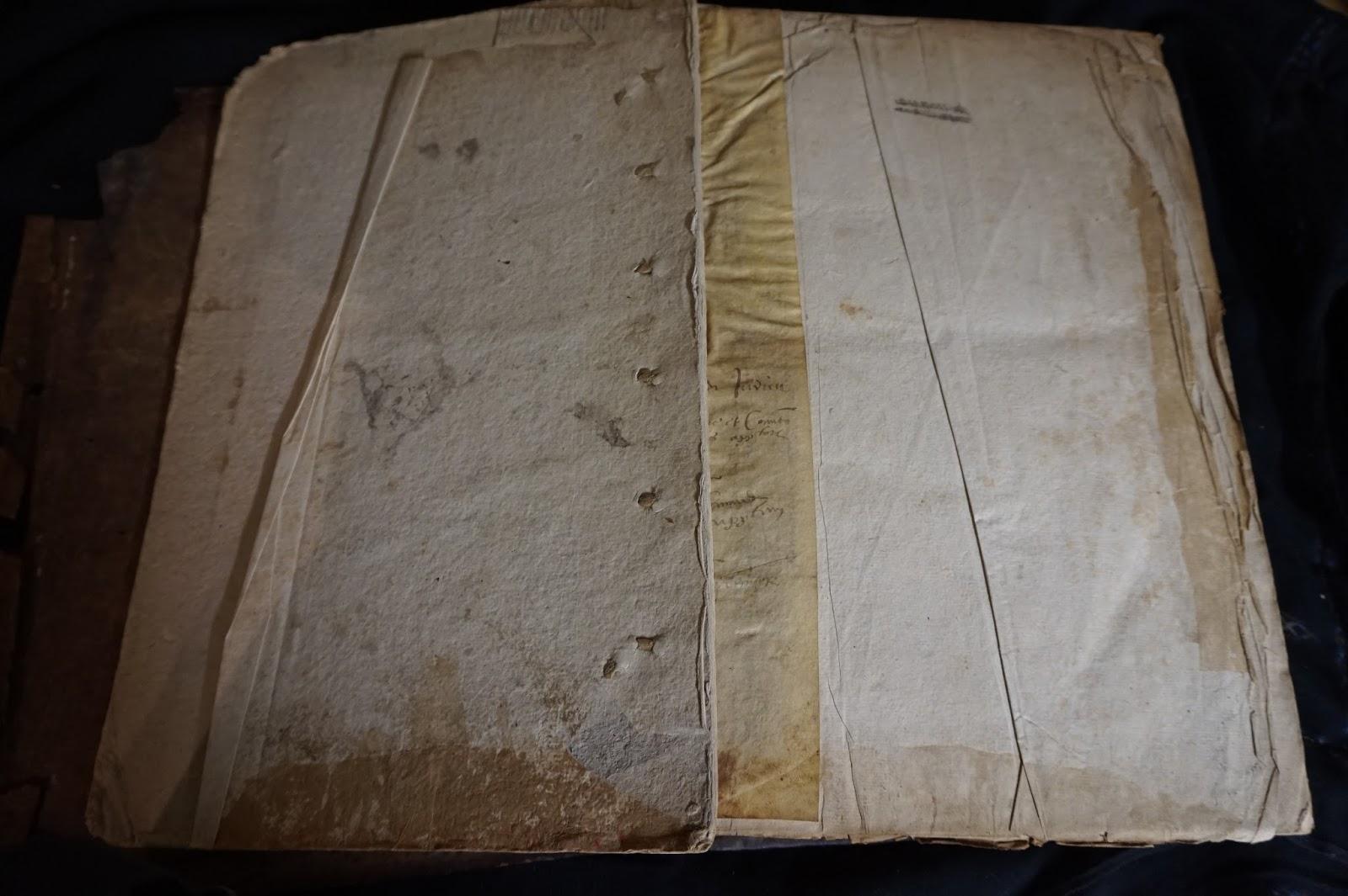 77ceb7968a02 Le livre que j ai en restauration est surtout très poussiéreux. La couture  est solide. Le cuir est usé, épidermé et un peu sec, avec des manques.