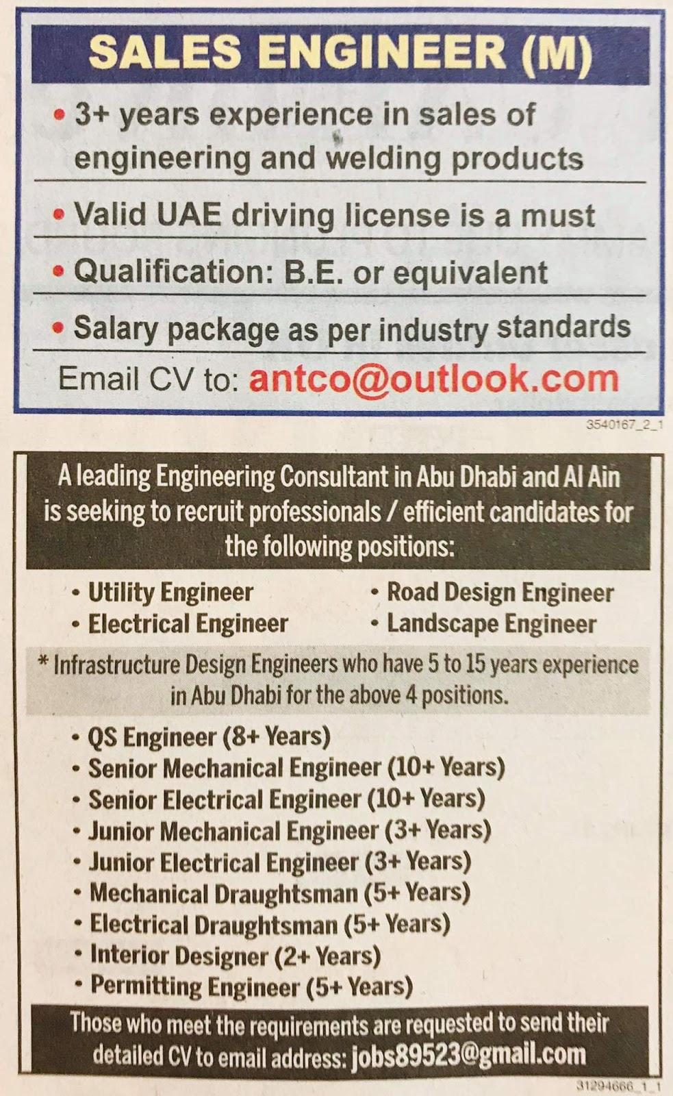 A Leading Engineering Conusltant in UAE is seeking to