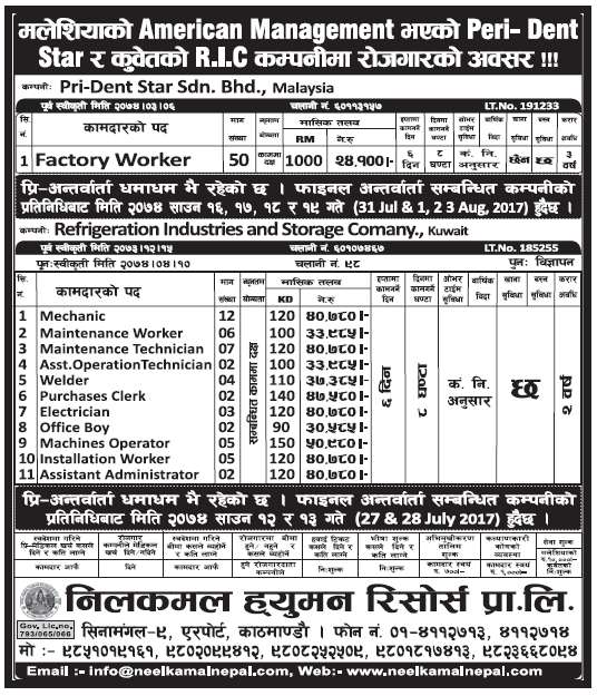 Jobs in Kuwait for Nepali, Salary Rs 50,980