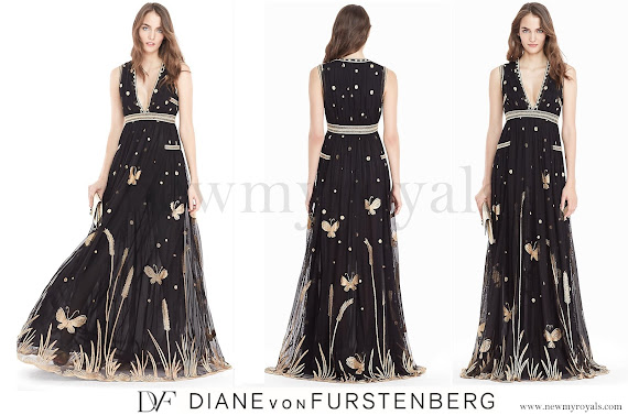 Queen Mathilde wears Diane Von Furstenberg - DVF Vivanette Embroidered Tulle Goddess Gown
