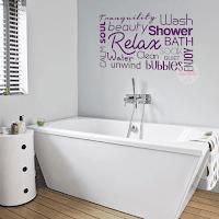 vinilo decorativo baño bath palabras ingles frases textos