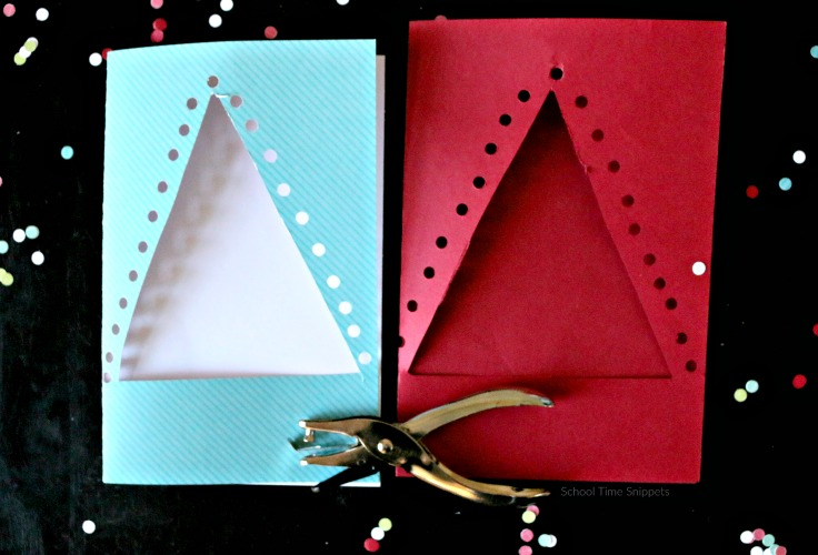 lacing christmas tree card kids can make