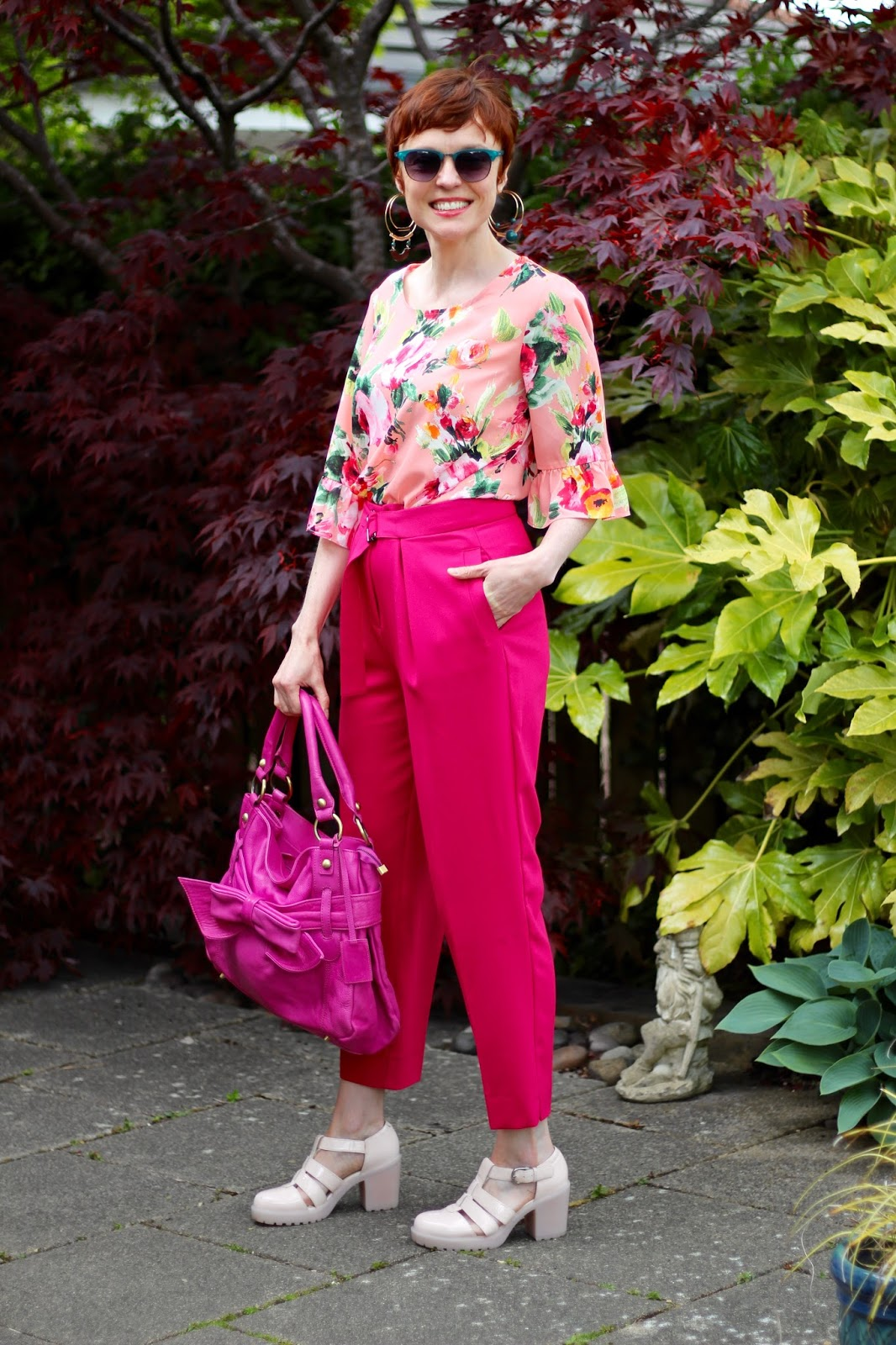 Fuchsia trousers, magenta bag, blush sandals, floral blouse | All Pink, over 40 | Fake Fabulous