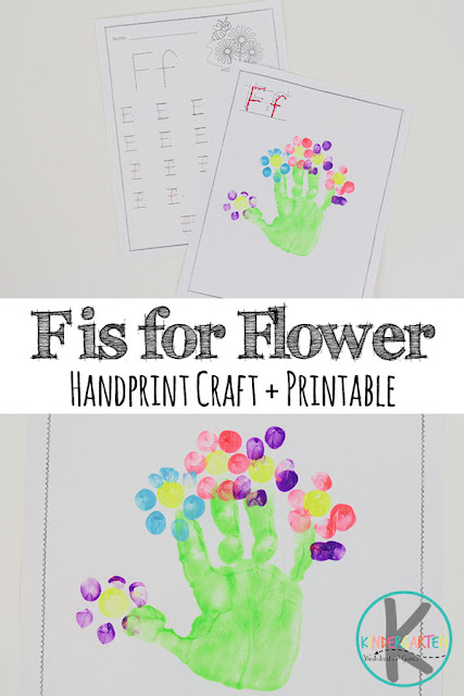 Letter F Worksheets & Handprint Craft - help toddler, preschool, and kindergarten kids practice writing alphabet letters with these free printable worksheets and super cute handart flower craft too