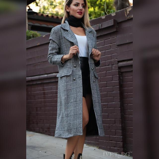 Μοντέρνο  γκρι παλτό ROKSANA GREY