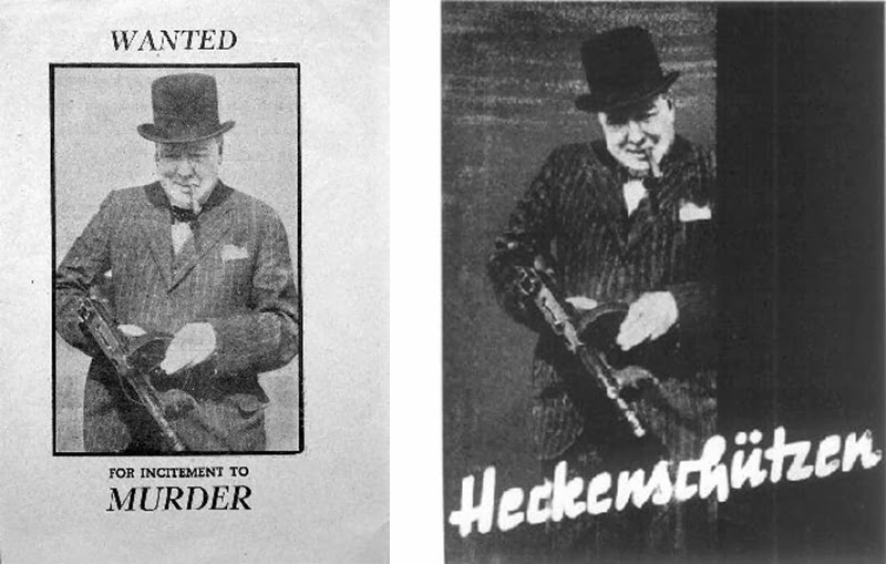 Nazi Leaflet (left), Nazi poster with Churchill with the German text,