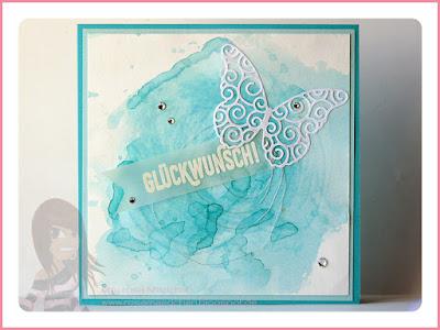 Stampin' Up! rosa Mädchen Kulmbach: Geburtstagskarte in Aquarelltechnik mit Paarweise und Schmetterling