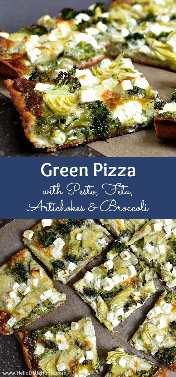 GREEN PIZZA WITH PESTO, FETA, ARTICHOKES, AND BROCCOLI