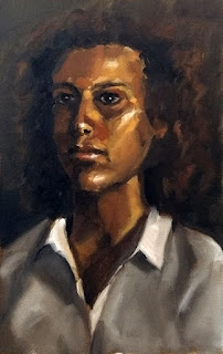 Oil painting of a young woman wearing a white shirt.