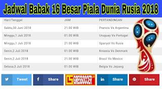 Jadwal 16 besar piala dunia