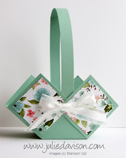 Stampin' Up! Birthday Bouquet  Spring Easter Basket Box -- VIDEO Tutorial www.juliedavison.com