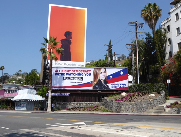 Full Frontal Samantha Bee democracy billboard Sunset Strip