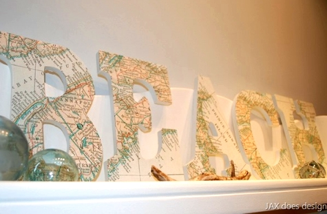 map decoupage letters