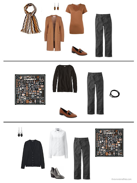 three outfits from a black, white, grey and brown capsule wardrobe
