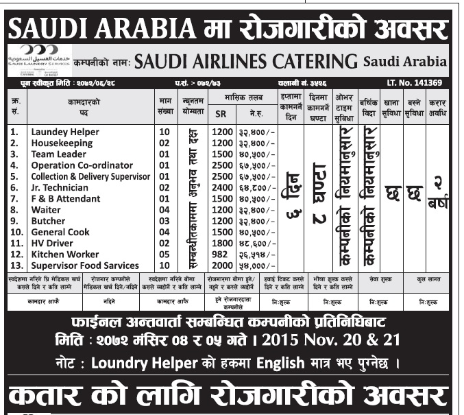 Jobs in Saudi Arabia & Qatar for Nepali, Salary Rs 1,01,500