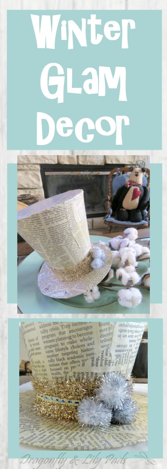 DIY Winter Glam Decor Snowman News Paper Mache Covered Hat.