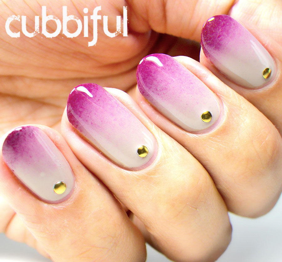 Elegant Gradient Nails with Gold Studs
